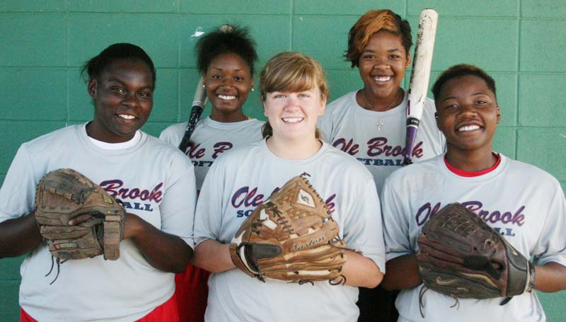 DAILY LEADER / MARTY ALBRIGHT / Brookhaven seniors (front from left) Chantel Quarles, Juliana Porter, Danielle Batteast; (back) Shoniece Smith and Keke Hill are ready to begin the 2014 slowpitch softball season. The Lady Panthers debut Aug. 9 in the Lawrence County Classic in Monticello.