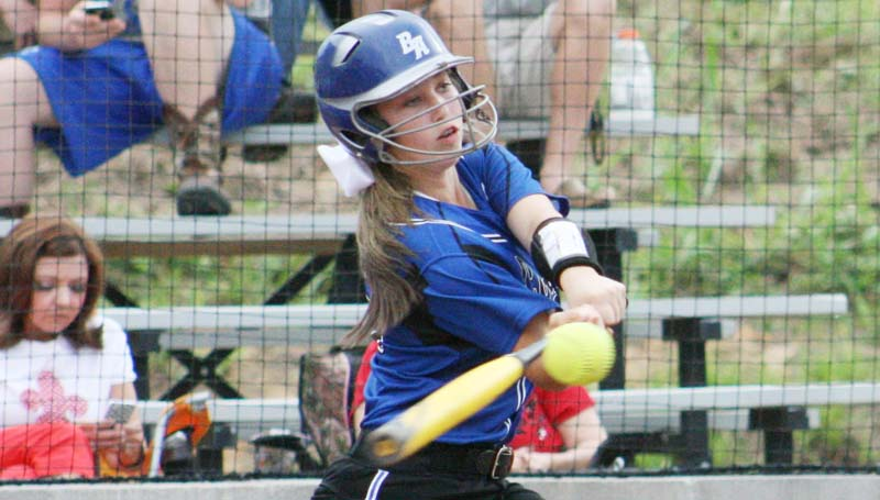DAILY LEADER / MARTY ALBRIGHT / Anna Grace Covington powered the Lady Cougars' offense with her bat Thursday night during the softball game at Brookhaven Academy.