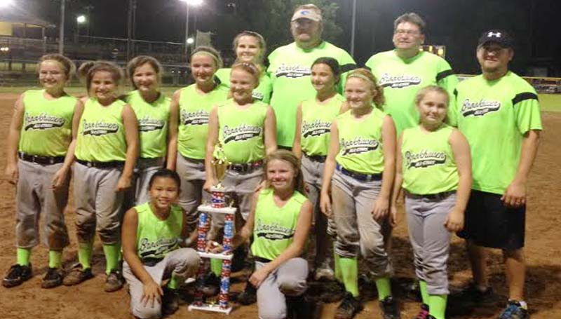 DAILY LEADER / Photo Submitted / Brookhaven All Stars 10U fastpitch softball team captured the tournament championship in a team appreciation tournament which was held in Byram on July 19th. Members of the team were (first row from left) Carson Hughey, Bailee Goodson; (middle row) Layla Woodall, Camryn Summerall, Parker McCaffrey, Julianna Frazier, Jona Hughes, Brooke Cade, Jena Hughes, Macy East; (back) Kayla Goodson, Robby Goodson, Michael Hughey and Blake East.