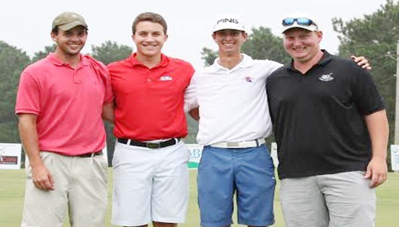 DAILY LEADER / Photo Submitted / Finishing in first place to win the Wade Creekmore Sr. Pioneer Club Inaugural Golf Tournament Aug. 1. was the team of (from left) Mitchell Heddox, Jacob Ross, Will Lee and Taylor Jelks