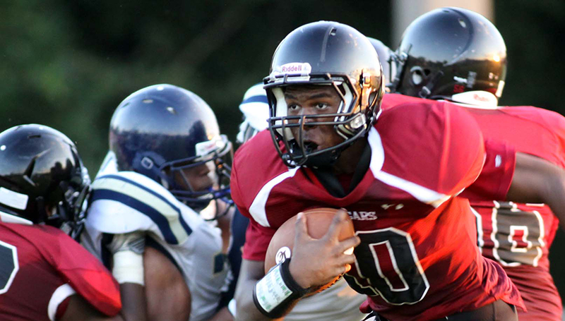 DAILY LEADER / JONATHON ALFORD / Lawrence County Sophomore Quarterback CharlTez Nunnery looks for an open receiver in Friday's jamboree against Franklin County.