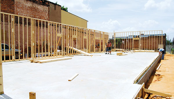 DAILY LEADER / RACHEL EIDE / Construction is moving along on the new Miller & White Inc. accounting office building at the corner of Monticello Street and Whitworth Avenue downtown.
