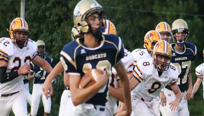 DAILY LEADER / MARTY ALBRIGHT / Bogue Chitto's freshmen quarterback Tucker Lambert (10) has a career game against Enterprise as he runs in a touchdown Thursday night at Troy Smith Field.