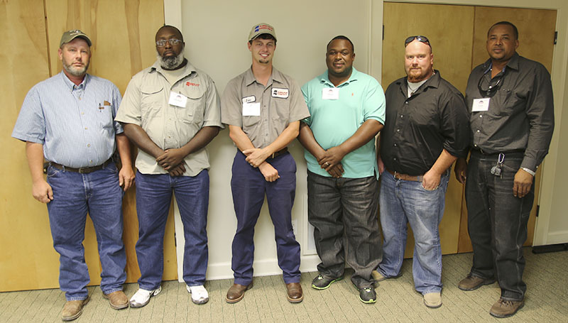 PHOTO SUBMITTED / From Aug. 12 to 14, MDOT Maintenance personnel participated in the PEAK (Performance, Education, Assessment, Knowledge) Program training. The PEAK Program is designed to develop leadership skills and facilitate a productive working relationship among participants that crosses district lines. Maintenance personnel from all six districts participated in the training. Pictured are (from left) James Childers, maintenance superintendent, McComb District Headquarters; Michael Jones, equipment operations superintendent, McComb District Headquarters; Jake Burge, maintenance superintendent, Raleigh Maintenance Office; Daryl Culver, maintenance superintendent, Tylertown Maintenance Office; Eric Hutto, maintenance superintendent, Foxworth Maintenance Office; and Leon Veals, maintenance superintendent, Woodville Maintenance Office.