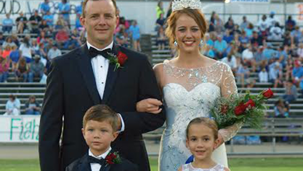 TRACY/ FISCHER / Wesson crowned Kayla Britt as their 2014 Homecoming Queen Friday night. Kayla's escort was her father Landon Britt and her attendants were Laney Hux and John Brayden James.