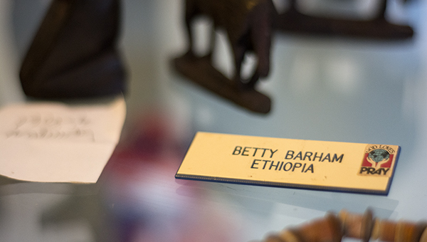 Displayed is her name tag from Ethiopia, which was one of the many countries Barham worked during her eight years as a missionary.
