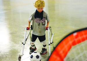 J.T. Pendley gears up to kick a goal.