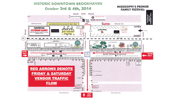 MAP SUBMITTED / The festival committee plans to close off streets beginning at 5 p.m. Friday, Oct. 3. The festival will run through Saturday.