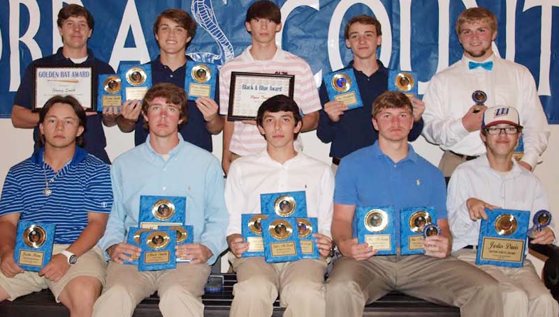 DAILY LEADER / TRACY FISCHER / The Wesson baseball team was honored during the school's spring's athletic banquet. Guys receiving awards were (from left, seated) Justin Boone, Senior, Most Dedicated Player; Mack Smith, Senior, Best Offensive Player, Team Captain, Most Valuable Player & All District 1st Team; Tyler McLeod, Senior, Best Defensive Player, Team Captain, Most Valuable Player, All District 1st Team; Mac McQuage, Senior, Most Improved Player, All District 1st Team; Justus Davis (manager) Senior. (standing) Jeremy Smith, Golden Bat Award, All District 1st Team; Preston Middleton, Most Versatile Player, All District 1st Team; Ryan Traxler, Senior, Black & Blue Award; Max Daughdrill, Most Improved Player, All District 1st Team; Blake Burns (manager) Senior.