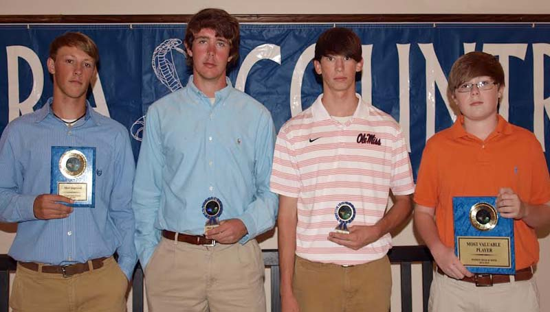 DAILY LEADER / TRACY FISCHER / The Wesson golf team was honored during the school athletic awards program. Players receiving awards were (from left) Logan Channel, Most Improved; Mack Smith, Senior; Ryan Traxler, Senior; and Kyle Holloway, Most Valuable Player.