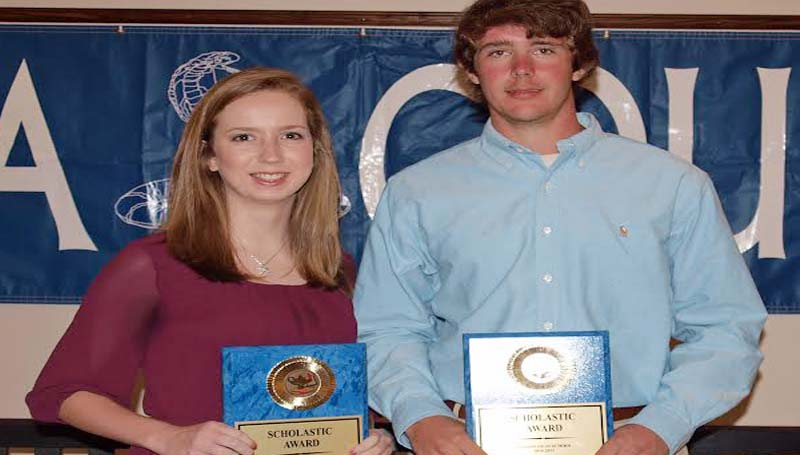 DAILY LEADER / TRACY FISCHER / Scholastic Award - Wesson's Spring Athletic banquet recognized their scholastic award winners Rebekah Shirley (left) and Mack Smith.