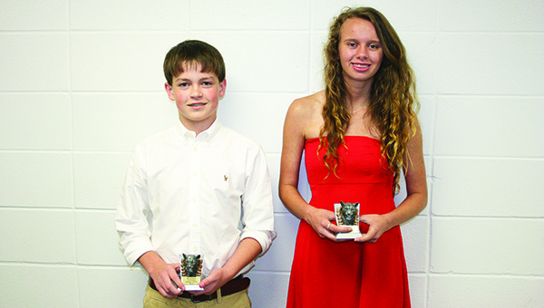 The Brookhaven Academy Archery team was honored during a spring athletic banquet. Players receiving awards were (from left) Hayden Smith, Highest Point Male Shooter; and Kaitlyn Bass, Highest Point Female Shooter.