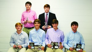 The Brookhaven Academy Cougars  honored their baseball team during a spring banquet. Players receiving awards were (seated, from left) Connor Dorman, Cougar Award; Heath Hickman, Most Valuable Offensive Player, All District; Alex Smith, Golden Glove Award, All District, MAIS District MVP, MAIS All-Stars; Zach Dickerson, Team's Most Valuable Player, All District, MAIS All-Stars; (standing) Madison Smith, Rookie of the Year; Carter Culbertson, Mr. Hustle.