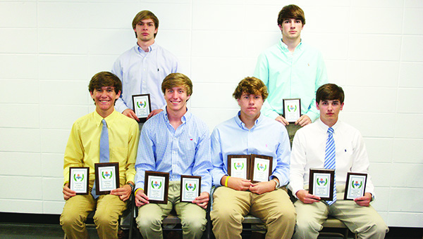 Photos by MARTY ALBRIGHT The Brookhaven Academy Boys basketball team was honored during the school's athletic banquet. Players receiving awards were (seated, from left) Drake Flowers, Senior Leadership Award, All-Conference Team; Trent Nettles, Defensive Player of the Year, All-Conference Team; Peyton Hood, Most Valuable Player, All-Conference Team, MAIS All-Star; Caleb Brown, Offensive Player of the Year, All-Conference Team; (standing) Austin Smith, All-Conference Team; and Ross Felder, All-Conference Team.