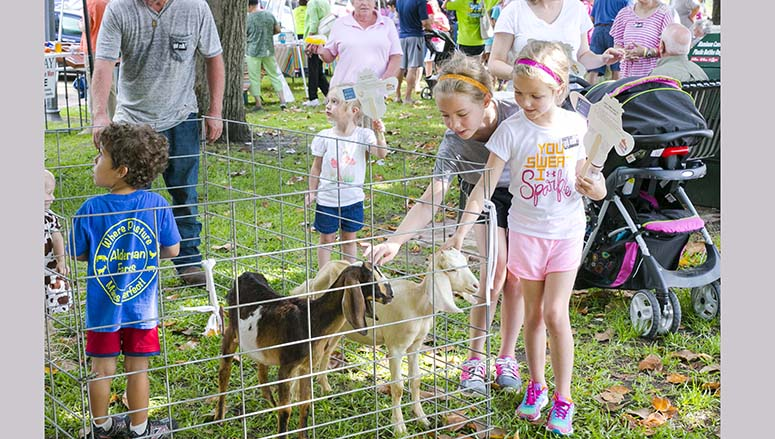 Photos by Kaitlin Mullins Dairy calves (right) were a big hit at Friday's Brookhaven Farmer's Market during the celebration of Dairy Day. Many aspects of dairy farming and all-around local cultivation were represented, from fresh cheese to area honey to baby goats. The baby goats from Ard Farms were also a popular hit (above), seen here with (from left) Ellie Slay and Abby Camille Slay.