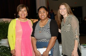 Daniels (center) received won the Charter Scholarship from Junior Auxiliary this year. Pictured with Daniels are JA members Glenda Hux (left) and Jennifer Townsend.