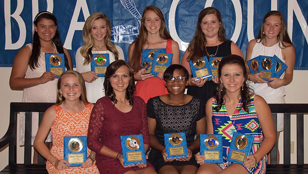 The Wesson fastpitch softball team was honored during the school's spring's athletic banquet. Ladies receiving awards were (from left, seated) Shelbi Maxwell, Hustle Award; Cheyenne Gladden, Most Versatile Player; Nekevia Frye, Most Improved Player; Harmoni Ashley, Best Defensive Player, All District Team; (standing) Catherine Wilson, All District Team; Brooke Jones, Most Versatile Player; Kayla Britt, Senior, Most Valuable Player, All District Team; Carrie McSweyn, Coaches Award, All District Team; Amber Brinson, Coaches Award, Best Offensive Player, All District Team.