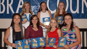 The Wesson Girls team was honored during the school's athletic banquet. Ladies receiving awards were (from left, seated) Kimberly San,  Most Valuable Offensive Player, All District Team; Cheyenne Gladden, Most Valuable Defensive Player, All District Team; Arie Douglas, Most Valuable Mid Fielder; Harmoni Ashley,Rookie Award; (standing) Brooke Jones, Rookie Award, All District Team; Amber Brinson, Most Valuable Player, All District Most Valuable Mid Fielder; and Zoe Davis, Coaches Award. (Not Pictured - Alisanne Hall, Most Improved Award, All District Team)