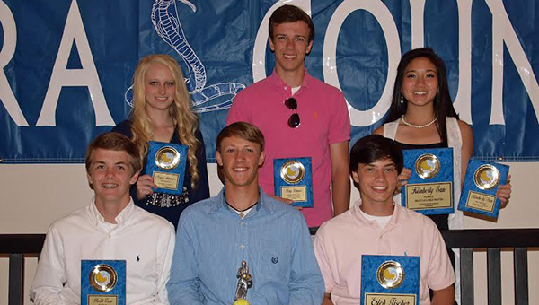 Photos By TRACY FISCHER  The Wesson tennis team was honored during the school's spring's athletic banquet. Players receiving awards were (from left, seated) Reid Crow, Hustle Award; Logan Channel, Golden Racket Award; Erich Fischer, Most Valuable Player; (standing) Maya Granger, Most Improved Player; Ray Drane, Rookie of the Year; and Kimberly San, Most Valuable Player, Most Team Spirit.