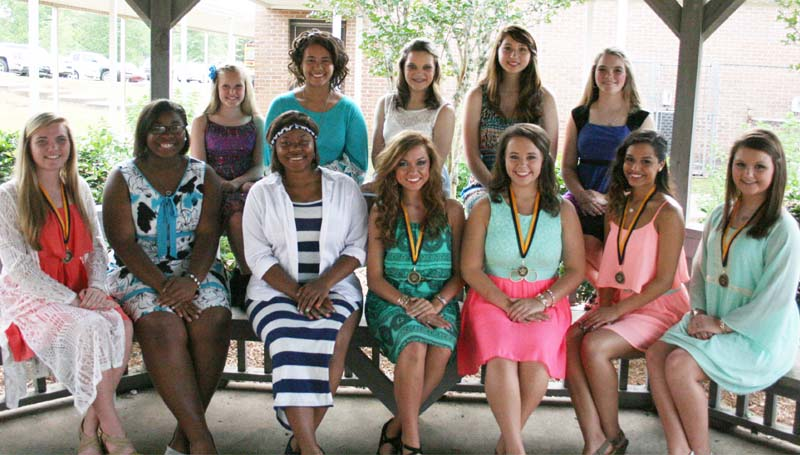 DAILY LEADER / MARTY ALBRIGHT / The Bogue Chitto Dance team was honored during their sports athletic banquet. Players receiving awards were (seated, from left) Kinley Douglas, Most Improved; Kaylin Heckard, Makeirah Smith, Kaylee Brown, Passion Award; Taylor Pickett, Leadership Award; Skila Cabrera, Golden Award; Shelby Godbolt, Technique Award; (standing) Briley Smithers, Kayden McKnight, Leslie Moak, Kacy Bai and Riley Watts. (Not pictured: DeDe Glover, Kickline Award)