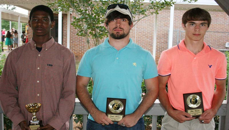 DAILY LEADER / MARTY ALBRIGHT / The Bogue Chitto powerlift team was honored during their sports athletic banquet. Players receiving awards were (from left) Dakota McGary, State Champ Award; Devin McEwen, Best Heavy Lifter; and Kobe Roberts, Best Light Lifter.