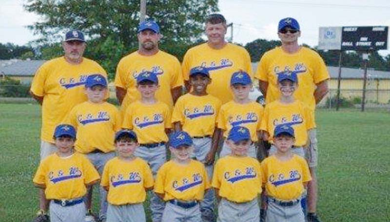 DAILY LEADER / Photo Submitted / C & W completed a perfect season in 7 and 8 year old AA Coach-Pitch League at Keystone Fields.  C & W finished with a 17-0 record enroute to being named National League Champions and Tournament Champions.  Members of the team are (keeling, from left)) Gauge Montgomery, Tyler Pruden, Tripp Jones, K.J. Querns, Tristan Fortenberry; (middle row) Knox Leggett, Kayne Case, Andrew Nelson, Brody Taggart, Matthew Newman; (back row) Coach Scott Leggett, Head Coach Kris Case, Coach Michael Taggart and Coach Jamie Newman.
