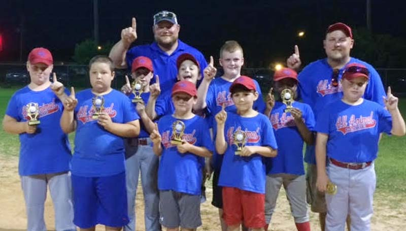 DAILY LEADER / Photo Submitted / AAA NATIONAL LEAGUE CHAMPS - All Animal Clinic were crown the Lincoln County Dixie Boys AAA National League champs. Members of the squad are (from left, front row) Marshall Hart, Mason White, Jackson Smith; (middle) Joshua Townsend, Collin beal, Logan Case, Brody Ezell, Jimmontre Harris, Brantley Day; (back) Coach Ryan Case and Coach Ryan Day. Not pictured is Jake Meilstrip, Gage Chisholm, Coach Jason Smith and Coach Daniel Chisholm.