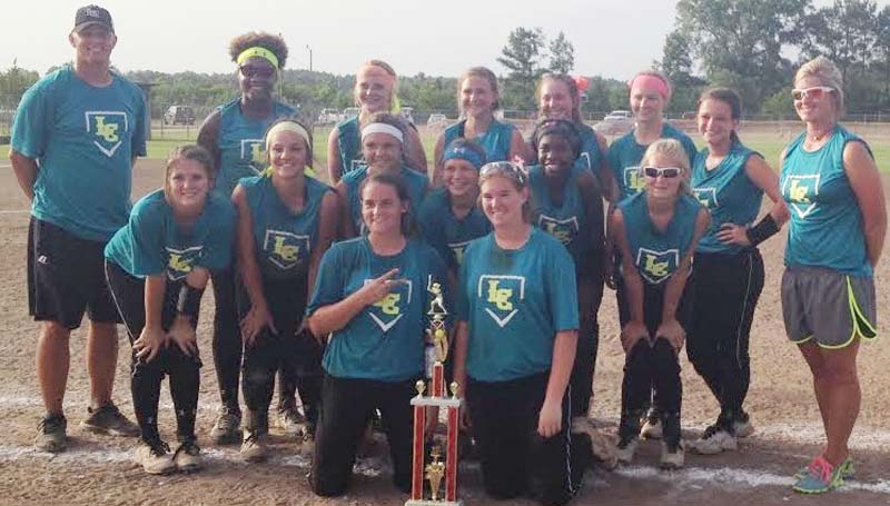 DAILY LEADER / Photo Submitted / Lawrence County's softball team captured second place in the Ole Brook Bash Softball Tournament at Hansel King Sports Complez last weekend. Pictured are team members: (front row from left) Elizabeth Smith, Jordan Harp. middle row: Julianna Johnson, Amanda Rushing, Lakyn Trott, Alyssa Lambert, Tyranesha Davis, Josey Nations; (back row) Coach Marc Howard, Zyon Feazell, Abbie Errington, Sydney Pevey, Callie Fortenberry, Raylee Ready and Coach Meleah Howard.