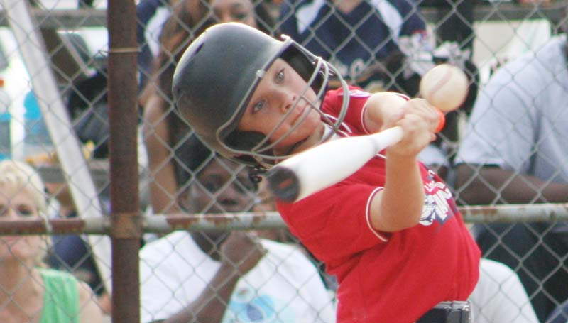 DAILY LEADER / MARTY ALBRIGHT / Lincoln County Americans' Taylor Livings provided a strong hitting performance at the plate against the Lincoln County Nationals.
