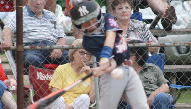 DAILY LEADER / MARTY ALBRIGHT / Lincoln County Nationals' slugger Brody Taggart led his team at the plate in Monday's action against the Lincoln County Americans.