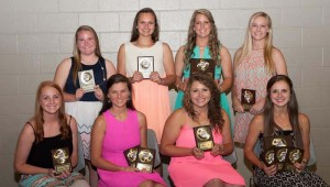 The West Lincoln Lady Bears fastpitch softball team was honored during a Sports athletic banquet. Players receiving awards were (seated, from left) Brianna Fauver, All-District 7-2A; Addie Spring, .400 Club, All-District 7-2A; Malori Hall, All-District 7-2A; Micah Redd, Best Batting Average, Most Valuable Pitcher, .400 Club, All-District 7-2A, MAC All-Star Selection; (standing) Anna Brooke Davis, Rookie of the Year; Makennah Redd, Defensive MVP, Layton Sills, MAC All-Star Selection; Millane Lewis, .400 Club, Slugging Award.
