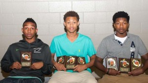 The West Lincoln boys' basketball team was honored during a spring athletic banquet. Players receiving awards were (from left) Zekenith Porter, Most Improved; Ronnie Edwards, Most Valuable Offensive Player, All Lincoln County Coaches 1st Team, All-District 7-2A; and Keshaun London, Most Valuable Defensive, All Lincoln County Coaches 1st Team, All-District 7-2A.