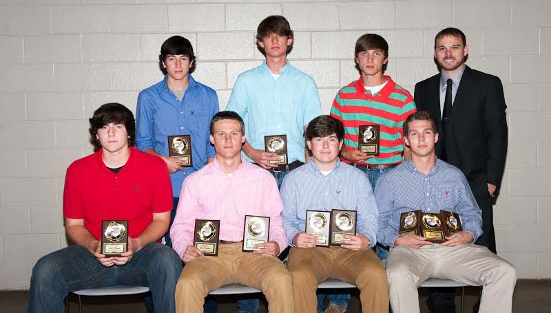 THERESA ALLRED / The West Lincoln Baseball team was honored during a spring athletic banquet. Players receiving awards were (seated, from left) Seth Bivens, All-District Award; Ty Forman, Mr. Hustle Award, All-District Award; Bryce Temple, Best Offensive Award, All-District Award; Alex Neal, Gold Glove Award, Player of the Year, All-District Award; (standing) Hunter Maxwell, Most Improved Player; Daniel Spears, Coaches Award; Austin Burris, All-District Award; and Coach David Gilbert.