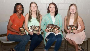 The West Lincoln Girls Basketball team was honored during a spring athletic banquet. Players receiving awards were (from left) Demesha Deer, Most Valuable Defensive Player; Ali Mullins, Most Improved, All-Lincoln Coaches Team, All-District 7-2A; Hanna Moak, Most Valuable Offensive Player, Most Valuable Rebounder, All-Lincoln Coaches Team, All-District 7-2A; and Carly Holden, Miss Hustle, Best Attitude.