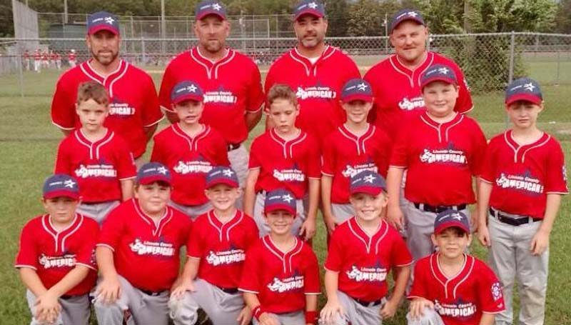 DAILY LEADER / Photo submitted / 8-YEAR-OLD AMERICANS ALL-STARS - The Lincoln County American 8-year-old All-Stars competed in the Dixie Boys AA North District Six baseball tournament at Keystone Park in Brookhaven and finished runners up in the championship contest. Members of the team are (from left, first row) Griffin Smith, Mark Hodges, Eli Thornton, Luke Simmons, Mason Smith, Mason Orr; (middle row) Braden Livings, Taylor Myers, Taylor Livings, Brayden Wilson, Roland Day, Gavin Reeves; (back row) Head Coach David Smith, Coach Todd Smith, Coach Joe Wilson and Coach Ryan Day.