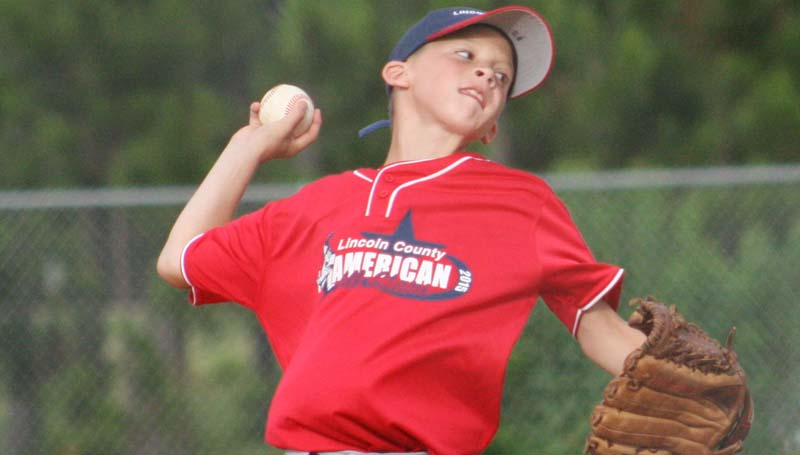 DAILY LEADER / MARTY ALBRIGHT / Lincoln County Americans' Payne Waldrop collects the win against Natchez in the Dixie Youth AAA 10-year-olds tournament at Keystone Park.