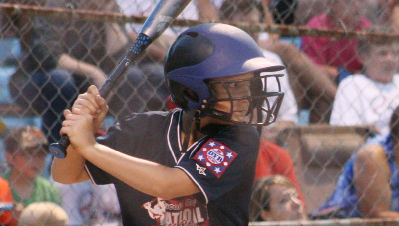 DAILY LEADER / MARTY ALBRIGHT / Lincoln County Nationals' Logan Case hits a single against the Franklin County All-Stars Friday night.