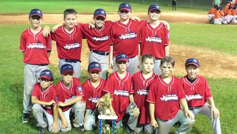 DAILY LEADER / Photo Submitted / 10-YEAR-OLD AMERICAN ALL-STARS - The Lincoln County American 10-year-old All-Stars won the District Six Tournament at Keystone Park in Brookhaven. The Americans will advance to play the Laurel Nationals All-Stars Friday night in the State Tournament in Laurel. Members of the Lincoln County Americans are (from left, first row) Caleb Smith, Payne Waldrop, Samuel Evans, Caden Yarborough, Easton Sartin, Carter Holcomb, Gavin Leggett; (back row) Will Loy, Hunter Goebel, Brandon Welch, Corby Husser and Jacob Rushing.