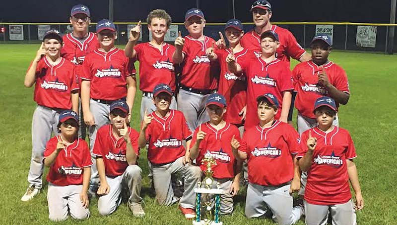 """DAILY LEADER / MARTY ALBRIGHT / 12-YEAR-OLD AMERICANS ALL-STARS - The Lincoln County American 12-year-old All-Stars captured first place in the Dixie Majors District Six baseball tournament at Leroy """"Cowboy"""" Jones Memorial Field in Bude. The Americans will advance to play Puckett Friday night in the opening round of State Tournament at Mendenhall. The game is set to begin at 6 p.m. Members of the Lincoln County Americans 12-year-old All-Stars team are (from left, first row) Joseph Smith, Dakota Willard, Matthew Burns, Piker Wallace, Logan Shelton, Jacob Smith; (back row) Jackson Carter, Coach Jess Carter, Colin Waldrop, Gage Brown, August Sullivan, Tyler Fortenberry, Head Coach Hugh Fortenberry, Caleb Carithers and Ty Webb."""