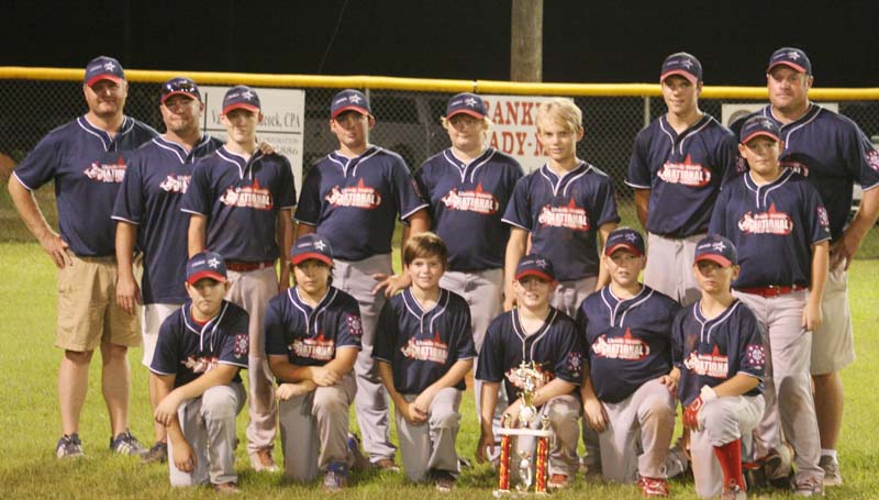 """DAILY LEADER / MARTY ALBRIGHT / 12-YEAR-OLD NATIONALS ALL-STARS - The Lincoln County National 12-year-old All-Stars finished in second place in Dixie Majors District Six baseball tournament action at Leroy """"Cowboy"""" Jones Memorial Field in Bude. The Nationals will advance to play Columbia Friday night in the opening round of State Tournament at Mendenhall. Members of the Lincoln County Nationals 12-year-old All-Stars team are (from left, first row) Konner Fauver, Sam Smith, Trace Brady, Felder Sartin, Dawson Hester, J.T. McCaffrey; (back row) Coach Bill Allbritton, Coach Tate McCaffrey, Dylan Carter, Cooper Moak, Jon Allbritton, Colby Carwyle, Dylan Reeves, Connor Hall and Head Coach Gareth Sartin."""