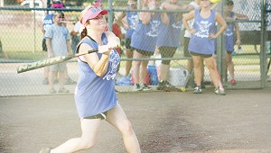 April Tanksley collects a hit for Brookhaven Academy in Ole Brook's Alumni softball tournament.