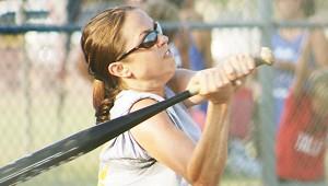 Mandy Scarpulla hits a single for Franklin County in Ole Brook's Alumni softball tournament.