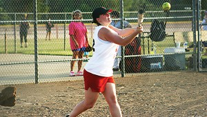 Katie Slaton collects a hit for Loyd Star in Ole Brook's Alumni softball tournament.