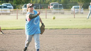Courtney Martin pitching for Wesson in Ole Brook's Alumni softball tournament.