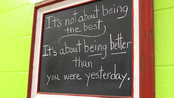 """An inspirational quote hangs on the wall in Hart's classroom, saying """"It's not about being the best, it's about being better than you were yesterday."""" Hart said she looks forward to helping each child grow to their best potential."""