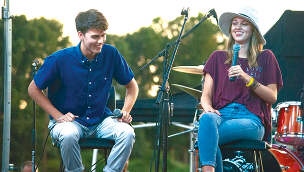 Photo by Julia V. Pendley John Luke and Sadie Robertson spent much of the time joking around. The majority of their conversation showed how important God is to each aspect of their lives.