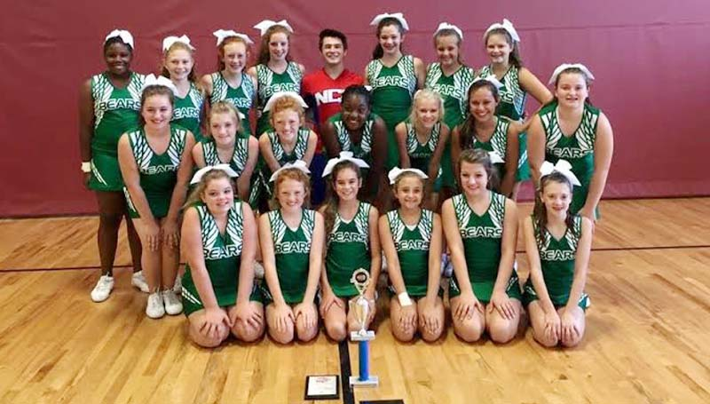 DAILY LEADER / Photo submitted / The West Lincoln junior high cheerleading squad recently attended the NCA Camp at Hinds Community College in Raymond and received the following awards: Superior ribbons in Cheer and Chant divisions, First Place in performance cheer, The Herkie Team Award, the Spirit Stick, and a bid to the National Championship in Dallas, Texas. Members of the junior high cheer team are (first row, from left) Mayce Arnold, Jona Hughes, Cara Bowman, Maggie Newman, Kaylynn Jarancik, Anna Johnson; (second row) Madison McNatt, Hannah Jarreau, Jena Hughes, Brittany Sturkey, Abby Jordan, Emalyn Langley, Kellcee Smith; (back row) A'Mya Brown, Summer Mulkey, Cayleigh Long, Julianna Crosby, NCA Camp Staff Cheyenne, Bailey Wilson, Lorelai Langley and Mary Ellen Patt. Not pictured are Coach Janice Davis and Coach Kellee Smith.