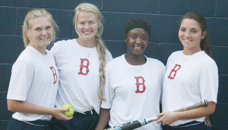 DAILY LEADER / MARTY ALBRIGHT / Brookhaven seniors (from left) Haley Speaks, Katherine Shell, Reagan Atterberry and Fallon Brooks are ready to begin the 2015 slowpitch softball season. The Lady Panthers debut Aug. 8 in the Lawrence County Classic in Monticello.