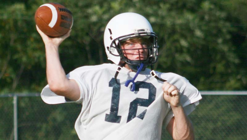 DAILY LEADER / MARTY ALBRIGHT / Bogue Chitto's quarterback Conner Douglas delivers a pass to his receivers during practice.