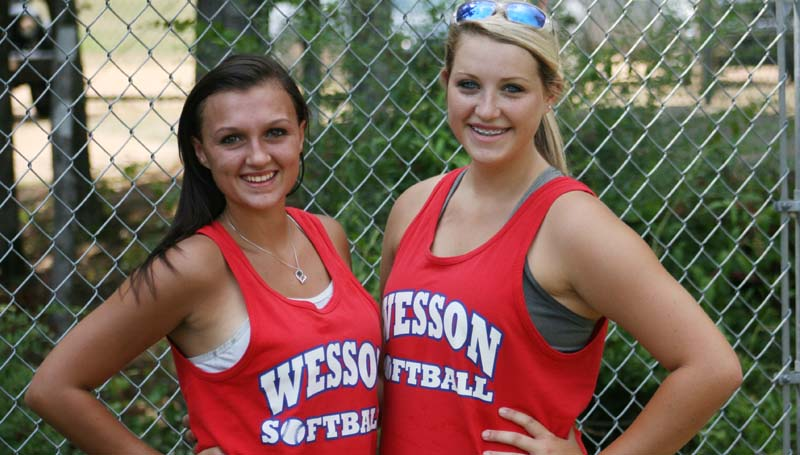 DAILY LEADER / MARTY ALBRIGHT / Wesson seniors (from left) Cheyenne Gladden and Kaitlyn Smith are excited to begin the 2015 softball season.